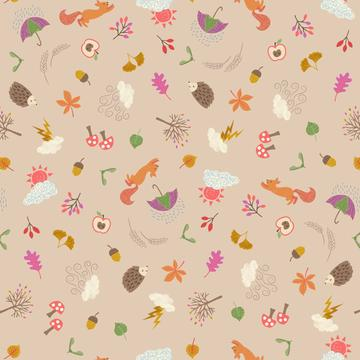 COTTON - Lewis & Irene - Whatever the Weather Autumn on Biscuit  (1/2 yard)