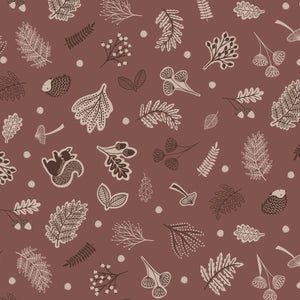 COTTON - Lewis & Irene - Scattered woodland on mid brown  (1/2 yard)