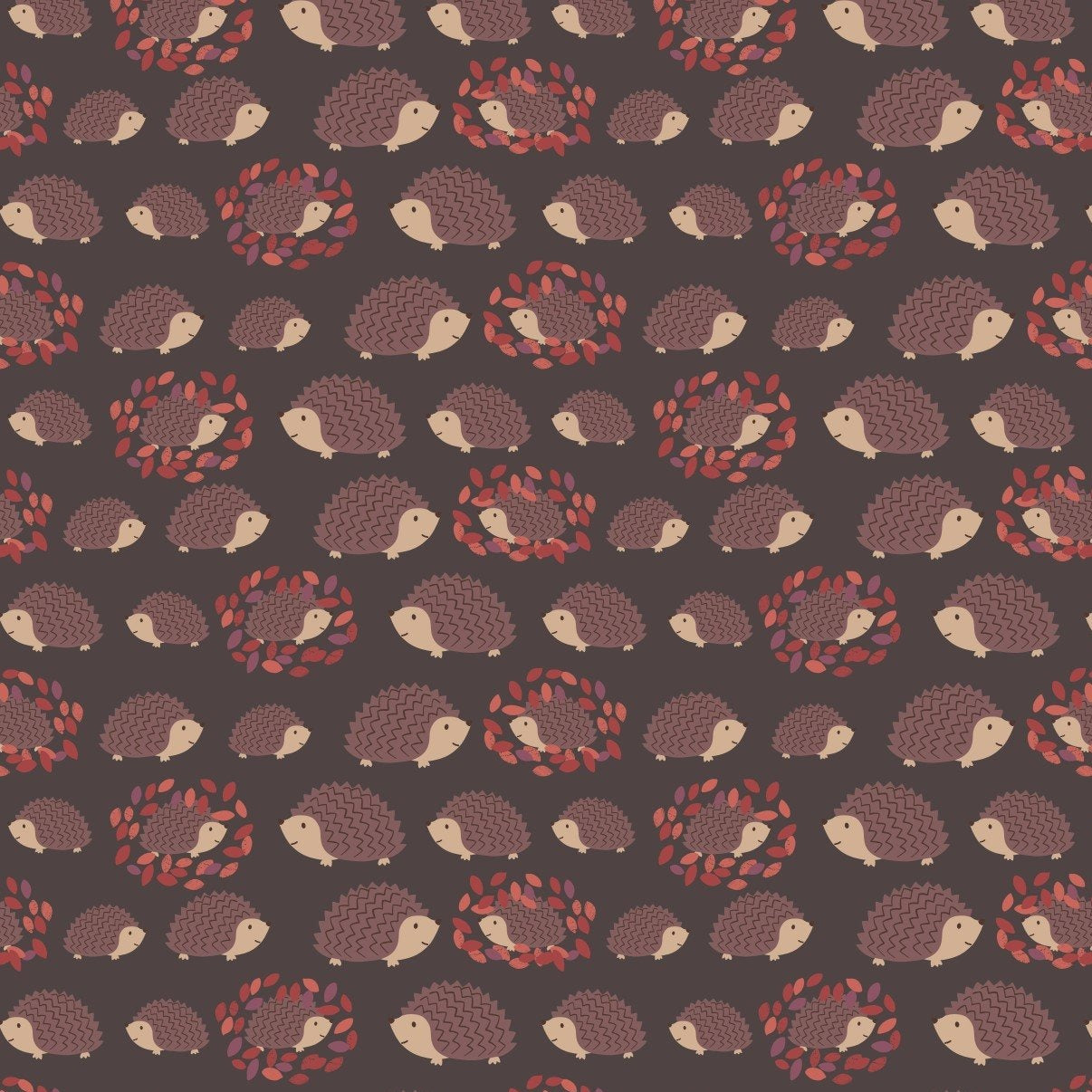 COTTON - Lewis & Irene - Hedgehog Family on Darkest Brown (1/2 yard)