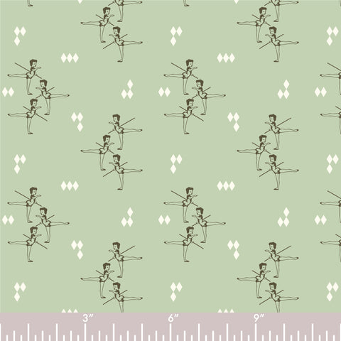 ORGANIC COTTON - quilting/poplins - Pirouette - ARABESQUE MINT - Birch Organic Fabric (1/2 yard)