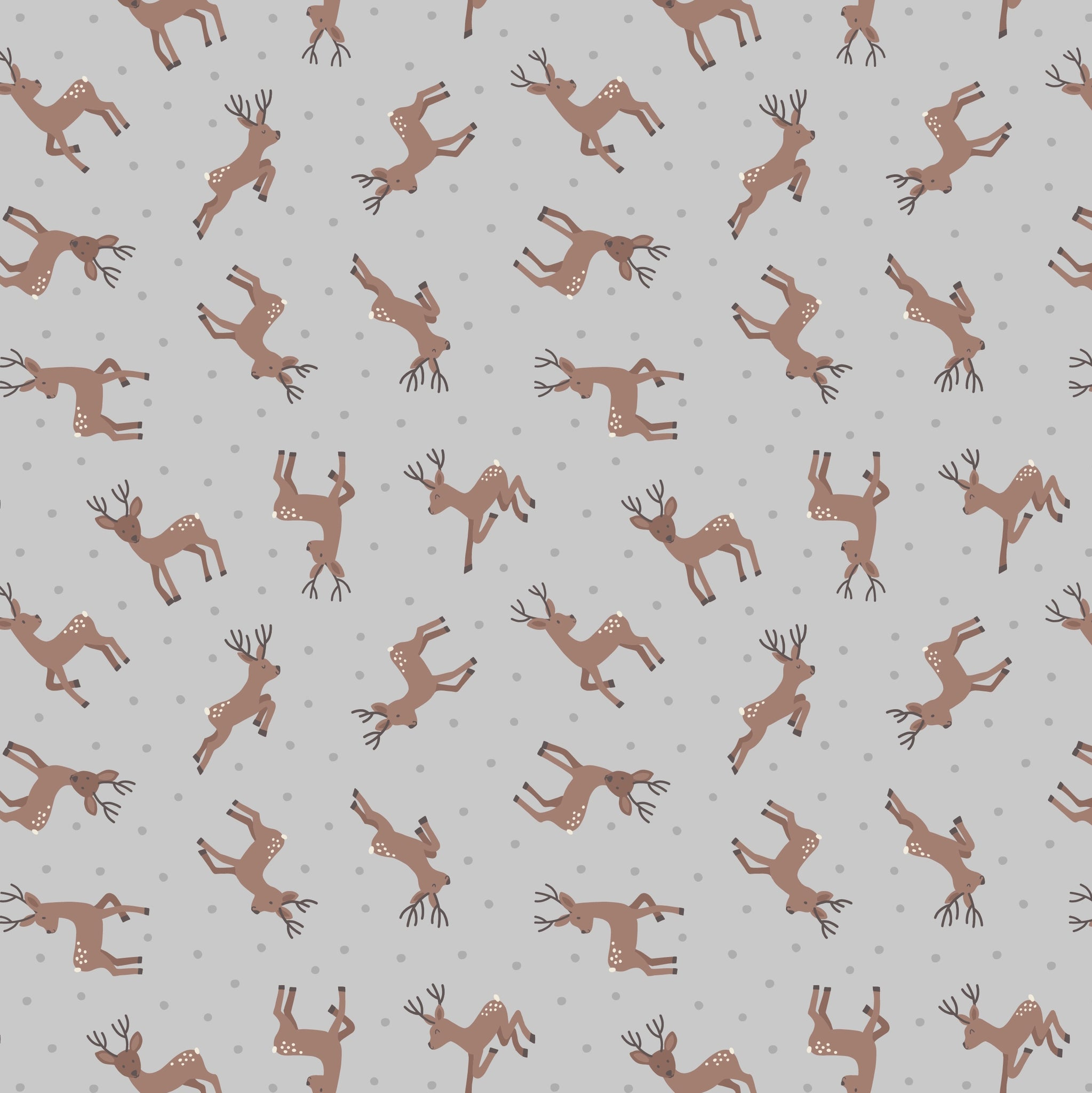 COTTON - Lewis & Irene - Deer on Grey - Small things Country Creatures  (1/2 yard)