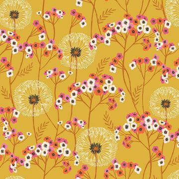 COTTON - Dashwood Studios - Aviary - Dandelion Mustard (1/2 yard)