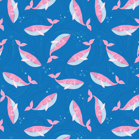 COTTON - Into The Blue - Pink Whales on Cobalt - Dashwood Studios (1/2 yard)