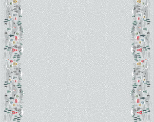 COTTON - Lewis & Irene - Snow Day Double Border in Silver (1/2 yard)