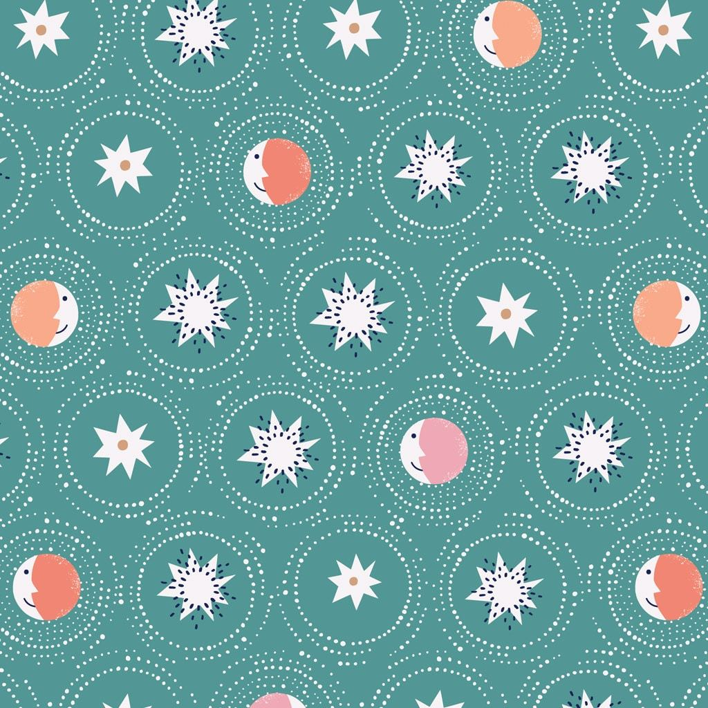 COTTON - Celeste - Jade phases - Dashwood Studios (1/2 yard)