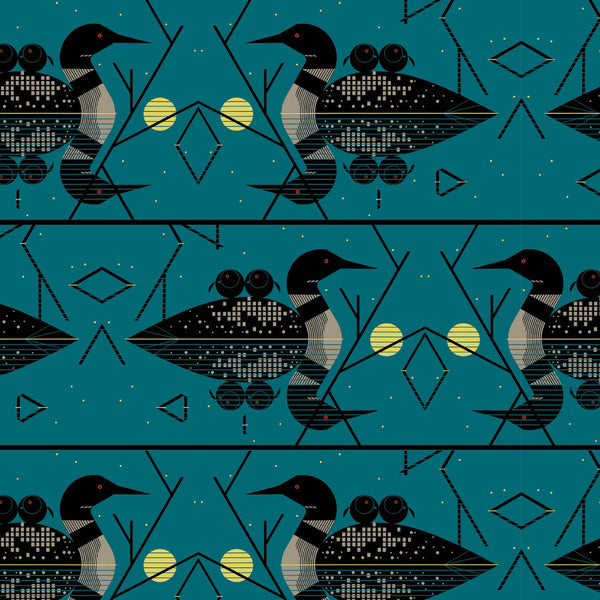 ORGANIC COTTON - quilting/poplins - Charley Harper - Lakehouse1 - Clair De Loon - Birch Organic Fabric (1/2 yard)