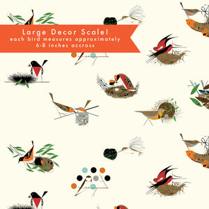 "ORGANIC COTTON - quilting/poplins - Large Architects Main - Charley Harper - Birch Fabric - 108"" wide (1/2 yard)"