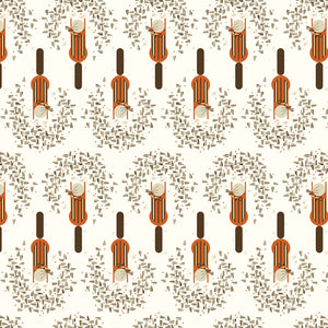 ORGANIC COTTON - quilting/poplins - Charley Harper - Lakehouse1 - Cheeky Chippy - Birch Organic Fabric (1/2 yard)