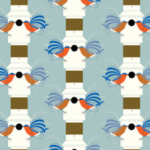 ORGANIC COTTON - quilting/poplins - Charley Harper - Lakehouse 2 - Homecoming - Birch Organic Fabric (1/2 yard)