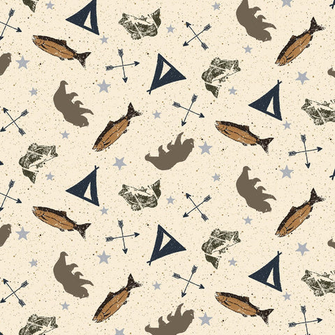 COTTON - Adventure Awaits - Light Khaki - Clothworks (1/2 yard)