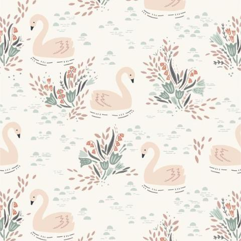 COTTON - Dashwood Studios - Swan - Soft  cream Dovestone (1/2 yard)