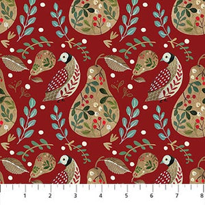 COTTON - Northcott - 12 days of Christmas - A Partridge red (1/2 yard)
