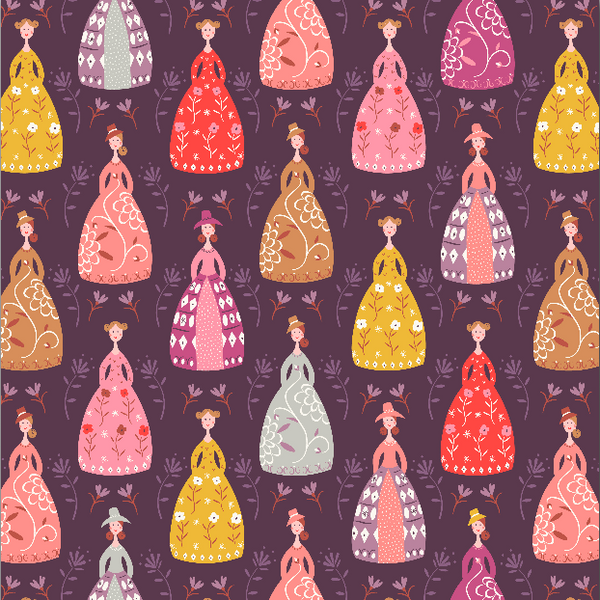 COTTON - Elinor - Ladies - Aubergine - Dashwood Studios (1/2 yard)