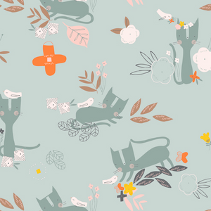 COTTON - Emi And The Bird - Light Grey - Dashwood Studios (1/2 yard)