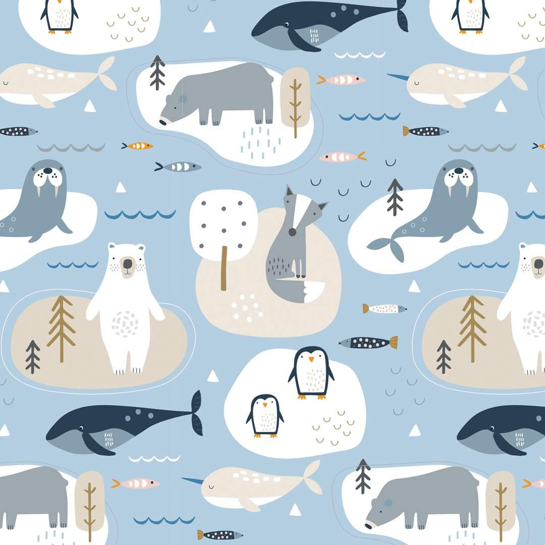 COTTON - Arctic Habitat - Dashwood Studios (1/2 yard)