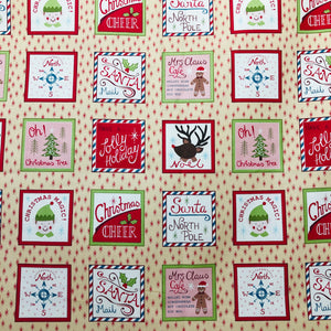 COTTON - Lewis & Irene - North Pole on Biscuit  (1/2 yard)