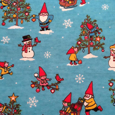 Flannelette - Gnome For The Holidays - Turquoise Blue (1/2 yard)