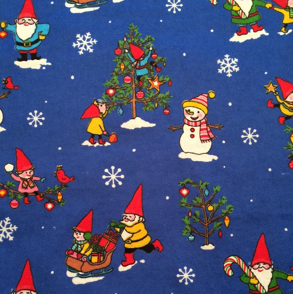Flannelette - Gnome For The Holidays - Royal Blue (1/2 yard)
