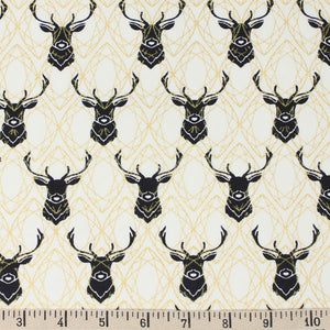 ORGANIC COTTON - quilting/poplins - INKWELL - ELK DIAMONDS in BLACK with gold METALLIC accents - Birch Organic cotton (1/2 yard)