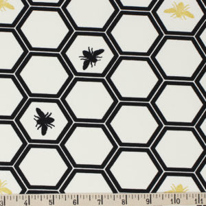 Organic Canvas COTTON - INKWELL - **CANVAS** - HONEYCOMB in Black with metallic accents- Birch Organic Cotton (1/2 yard)