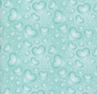 COTTON - Hearts - Valentine Hearts - Gradient Soft Teal (1/2 yard)