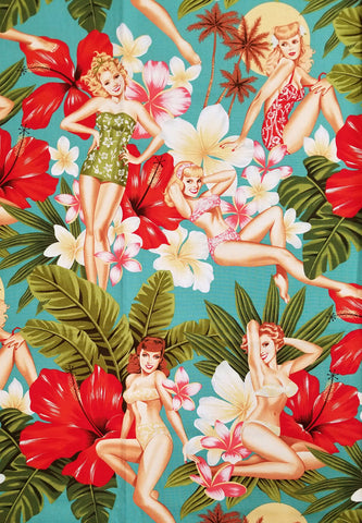 COTTON - Alexander Henry Fabrics - Alexander Henry PIN UPS - Island girls Vintage Turquoise  - (1/2 yard)