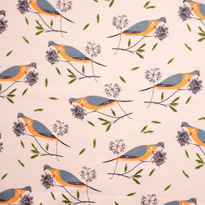 "KNIT - 58"" wide Charley Harper interlock knit - Passenger Pigeon - Birch Organic Fabric (1/2 yard)"