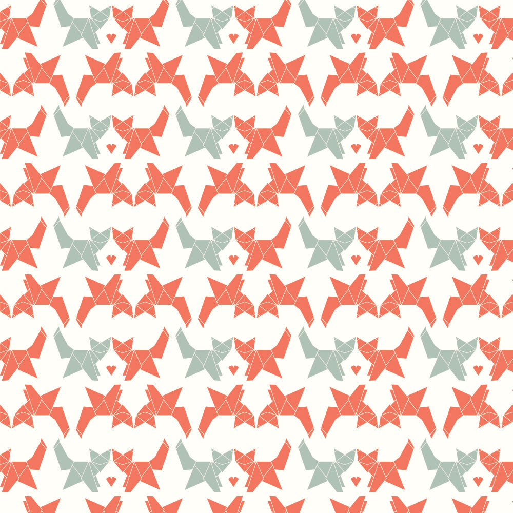 KNIT - GEO FOX interlock knit - Birch Organic Fabric - (1/2 yard)