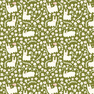 KNIT - Enchanted Kingdom Bunny Meadow Moss interlock knit - Birch Organic Fabric - (1/2 yard)