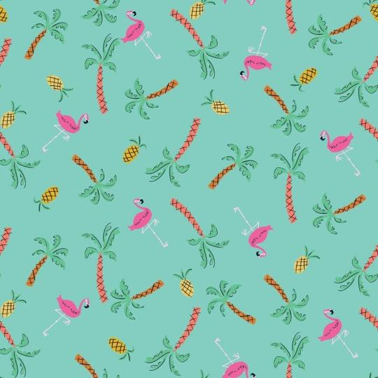 COTTON - Dashwood Studios - Lazy Days - Flamingos (1/2 yard)