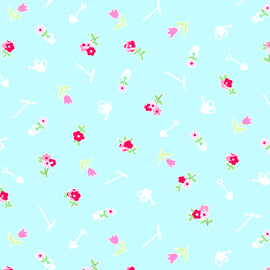 COTTON - Pam Kitty Garden - Garden Mini - Aqua  (1/2 yard)