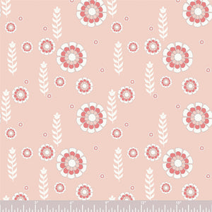 ORGANIC COTTON - quilting/poplins - Woodcut Floral - Birch Organic Fabric (1/2 yard)