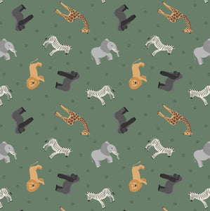 COTTON - Lewis & Irene - African Animals on Safari green - Small things World Animals  (1/2 yard)