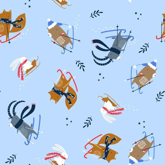 COTTON - Snow Much Fun! Light Blue Skiers - Dashwood Studios (1/2 yard)