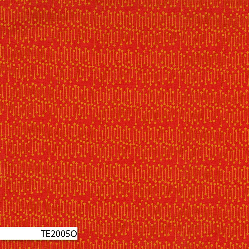 COTTON - Ella Blue - Bush Sticks Sunburnt Orange - Terra Australis (1/2 yard)