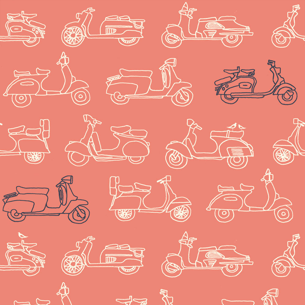 ORGANIC COTTON - Mopeds Coral - quilting/poplins