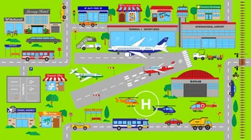 COTTON - Northcott - Connector Playmat - AIRPORT Panel
