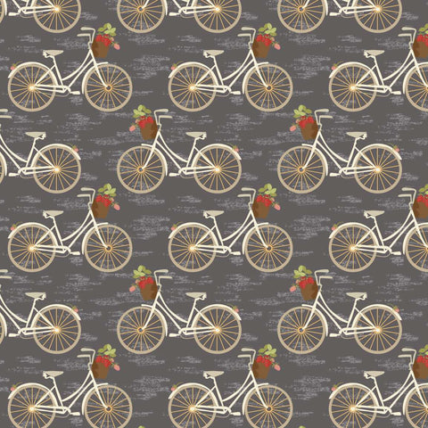 COTTON - Sweet Bee Designs -  Vintage Berries - Bicycles Grey (1/2 yard)