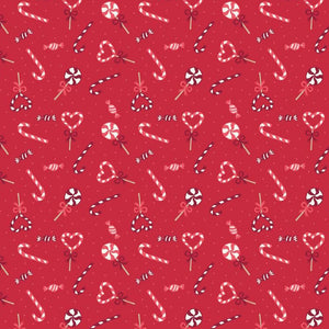 COTTON - Lewis and Irene - Small things at Christmas - Candy Canes RED (1/2 yard)