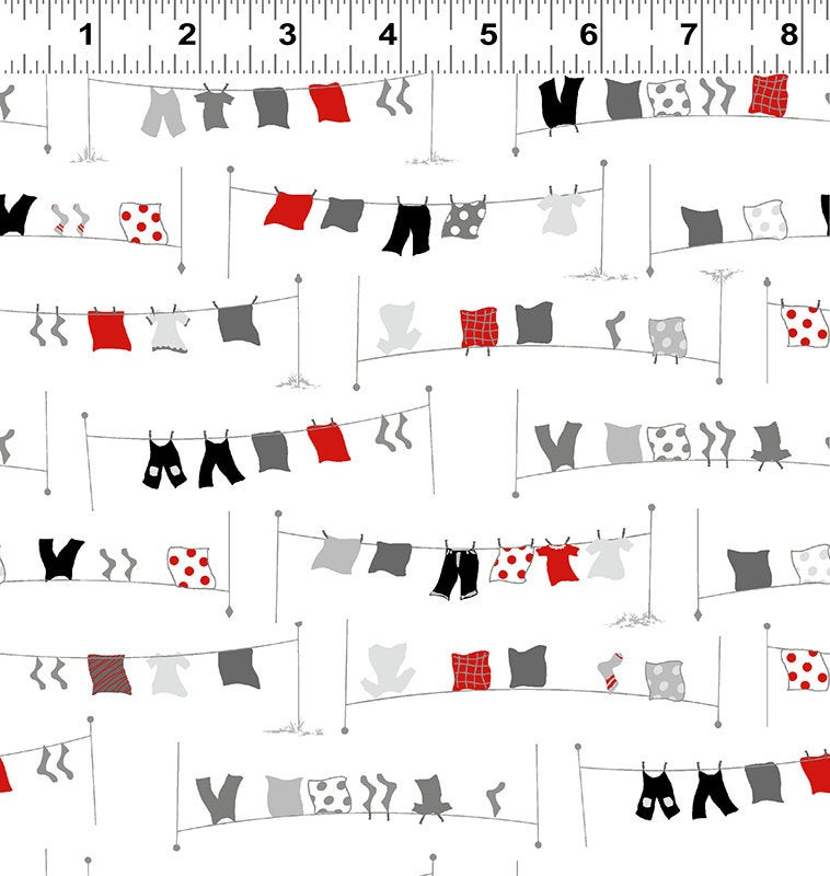 COTTON - Tiny Print Nation - Laundry Line - Clothworks (1/2 yard)