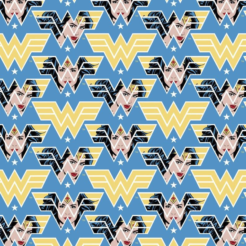 LICENSED COTTON -  Wonder Woman 1984 Collection - Face Crop - Quilting weight Fabric - (1/2 yard)