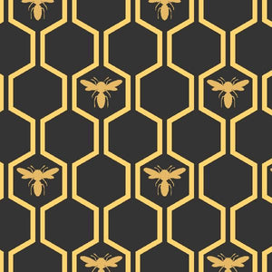 COTTON - Devonstone - Queen Bee - gold bees on honeycomb (1/2 yard)