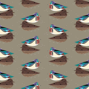 ORGANIC COTTON - quilting/poplins - Charley Harper - Lakehouse1 - Wood Duck - Birch Organic Fabric (1/2 yard)