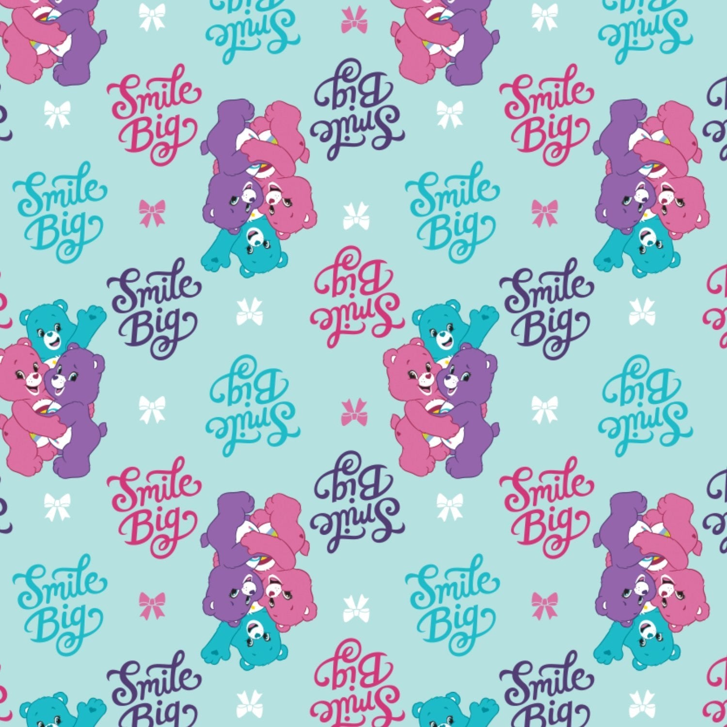 LICENSED COTTON - Care Bears Sparkle and Shine - Smiles - Quilting weight Fabric - (1/2 yard)