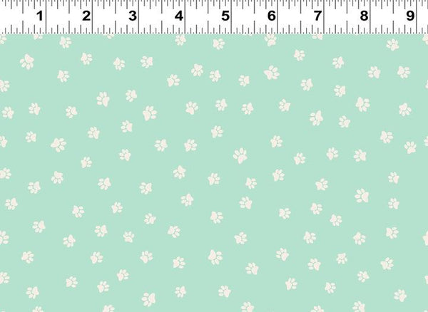 COTTON - Snarky Cats - light turquoise paws - Clothworks (1/2 yard)