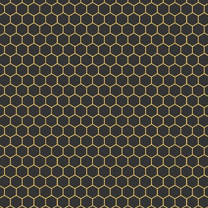 COTTON - Devonstone - Queen Bee - Black Honeycomb (1/2 yard)
