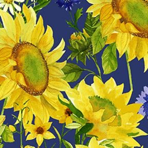 COTTON - Clothworks - Sunny fields - Sunflowers Dark royal blue (1/2 yard)
