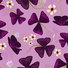 COTTON - Amethyst Garden - purple Shamrock - Clothworks (1/2 yard)
