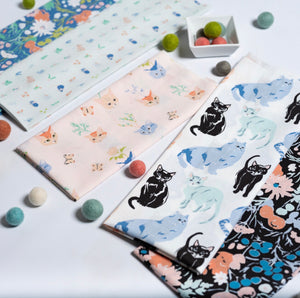 Fat Quarter Bundle - Kitty Garden Jenny Ronen - Birch Organic Fabric - 5 pieces