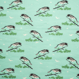 "KNIT - 58"" wide Charley Harper interlock knit - Black and White Warbler - Birch Organic Fabric (1/2 yard)"